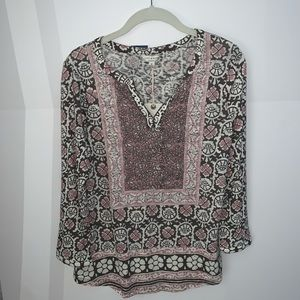 LuckyBrand Block Floral Bohemian peasant top (NWT)